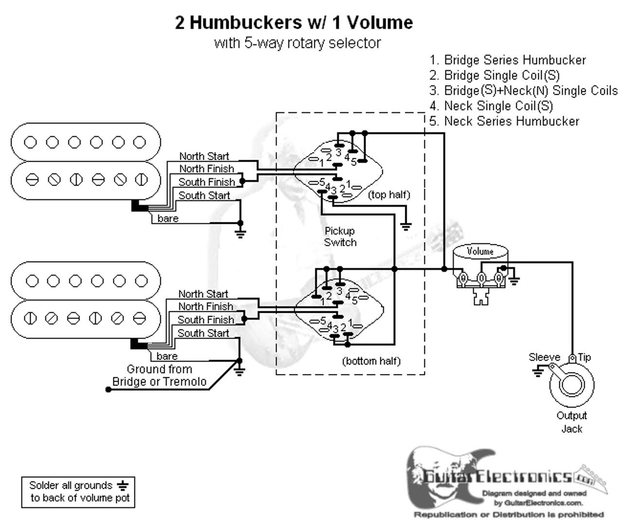 2 Humbuckers/5-Way Rotary Switch/1 Volume/00