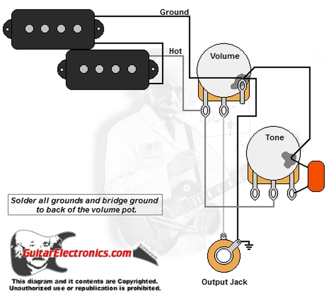 P-Bass Style Wiring Diagram | Bass 2 Pick Up Guitar Wiring Diagram |  | Guitar Electronics