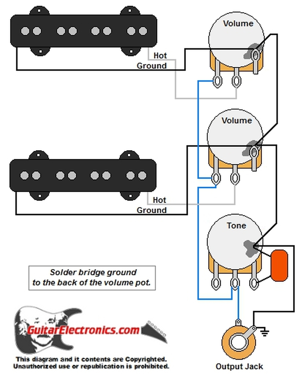 Jazz Bass Style Wiring Diagram | Guitar Electronics Wiring Diagrams |  | Guitar Electronics