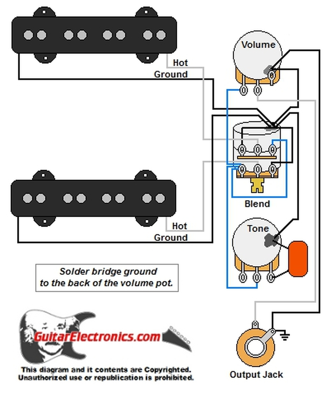 Jazz Bass w/ Master Volume & Balance/Blend Control | Bass Blend Pot Wiring Diagram |  | Guitar Electronics
