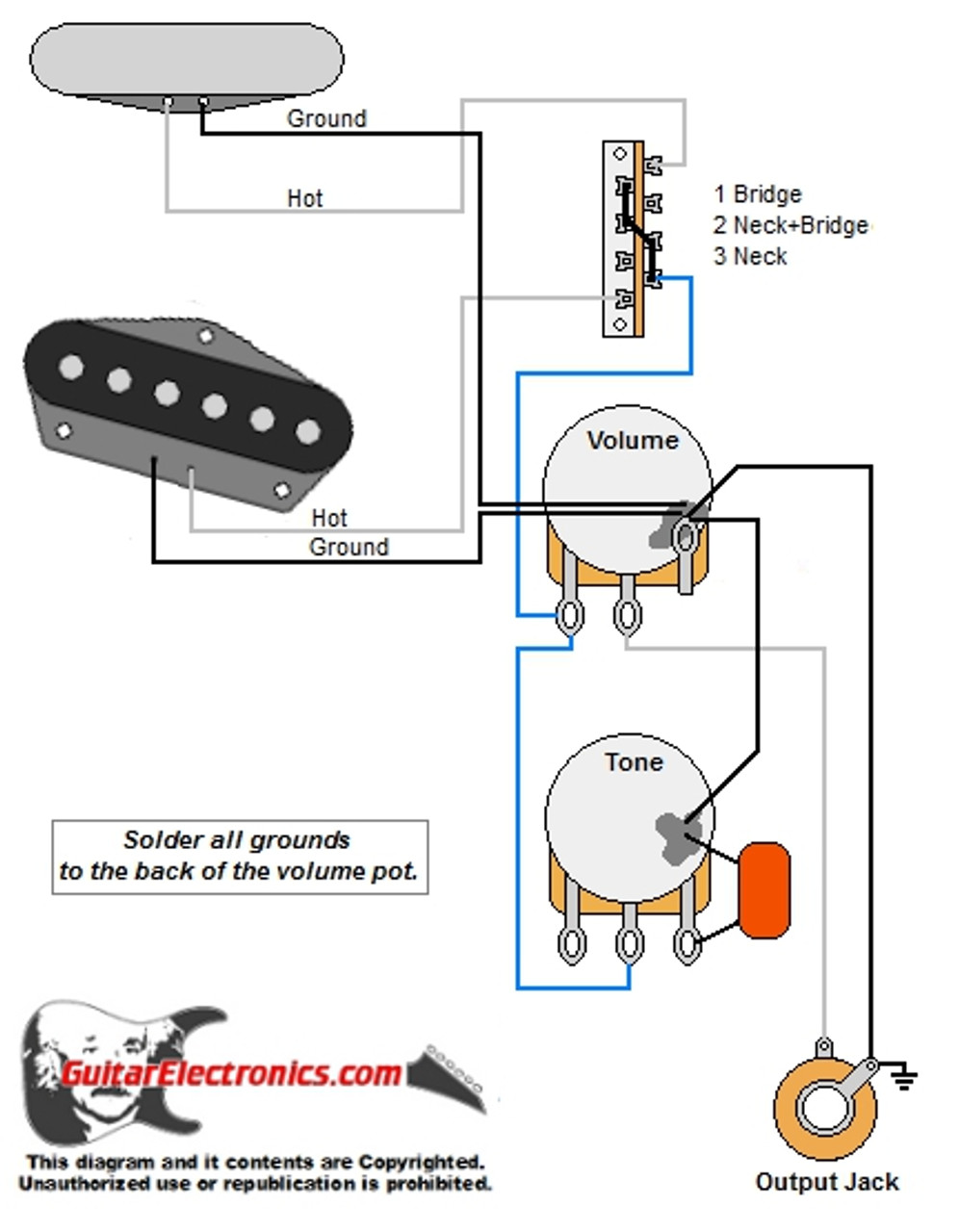 tele style guitar wiring diagram Single Coil Pickup Wiring Diagrams