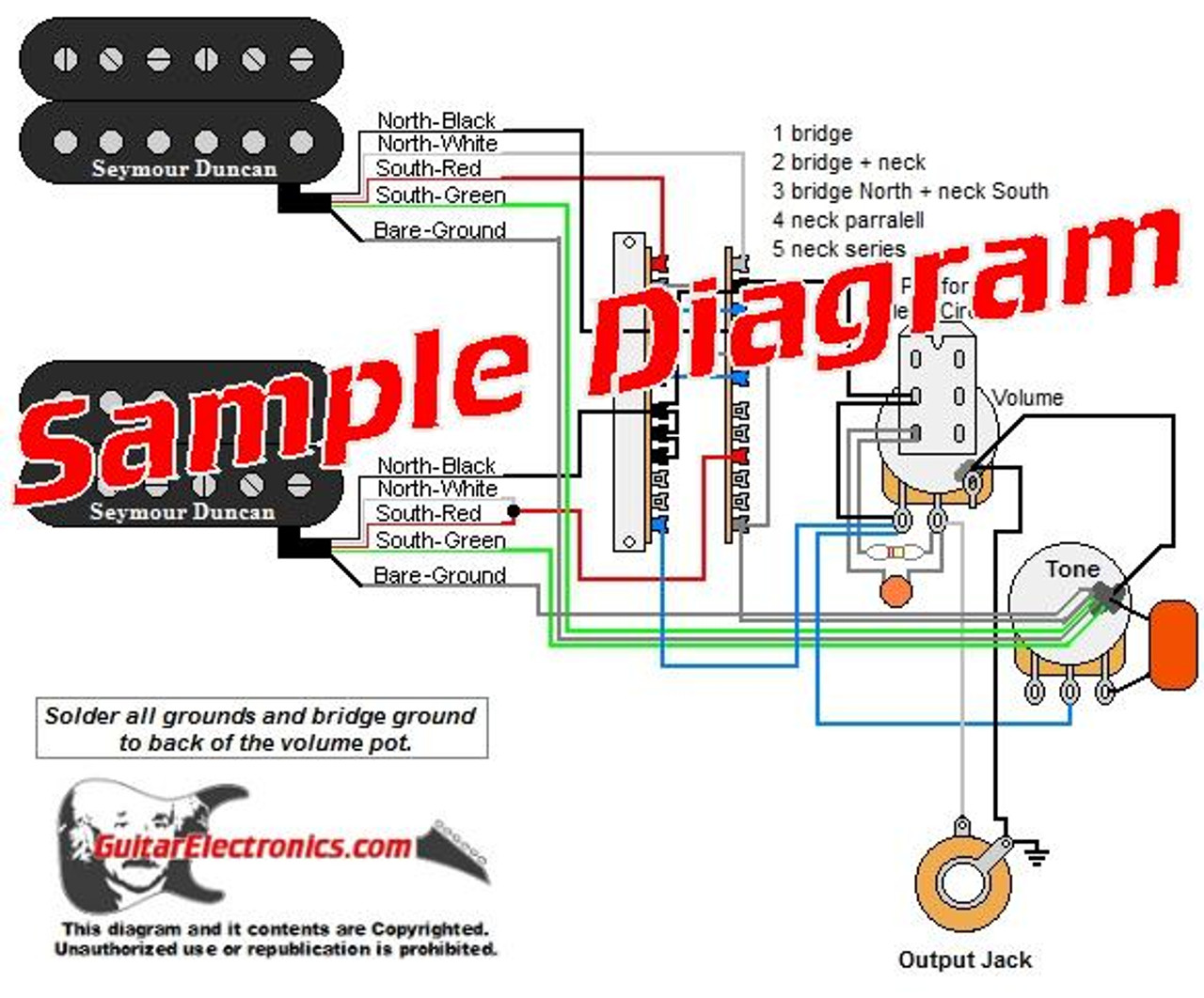 2 Pickup Custom Designed Guitar Wiring Diagrams