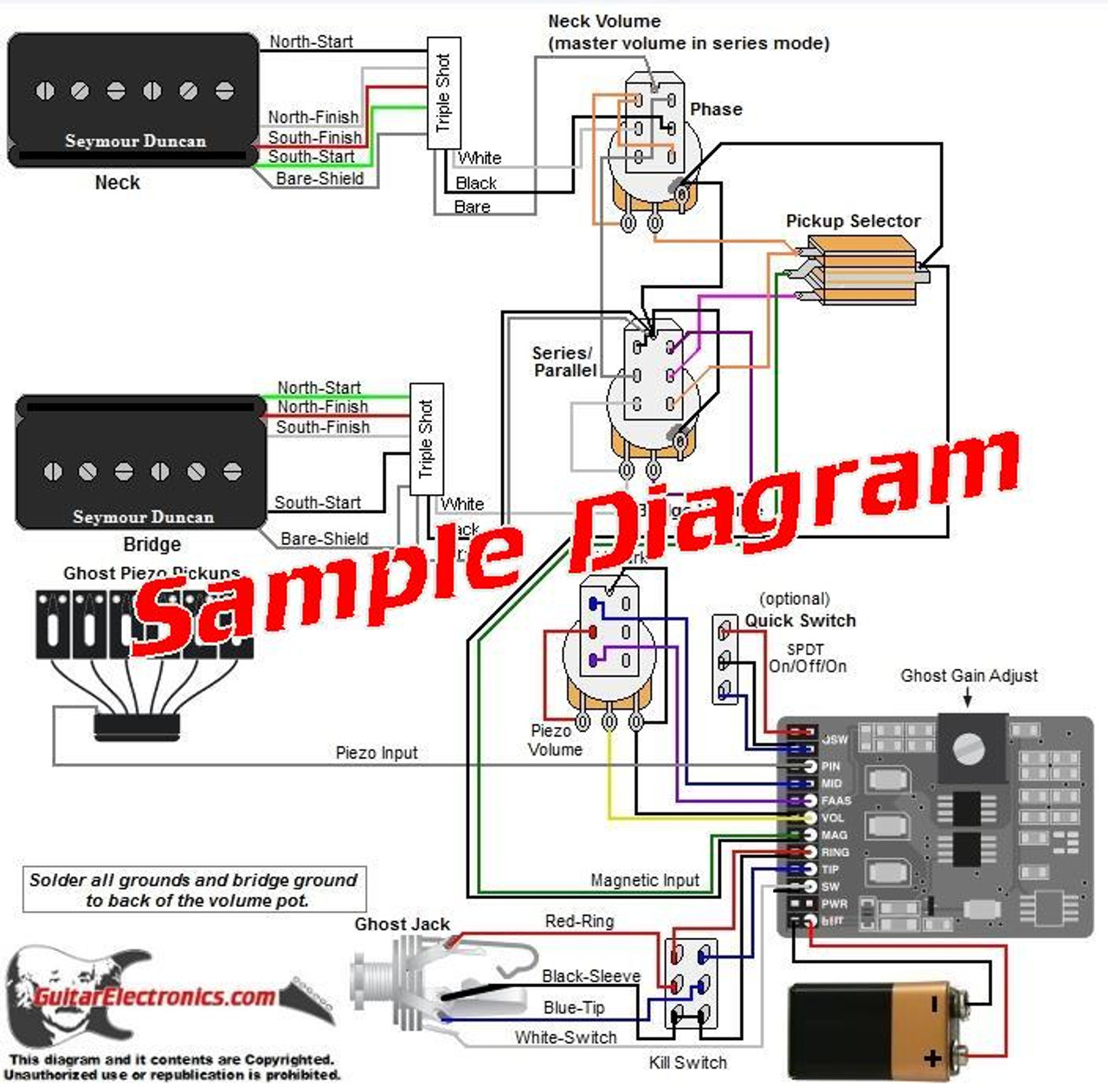 2 Pickup Sample Custom Diagram- 2 P-Rails w/ Ghost System