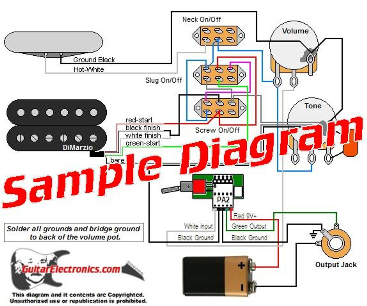 2 Pickup Sample Custom Diagram- 1 Humbucker with Tele Pickup and EMG Preamp