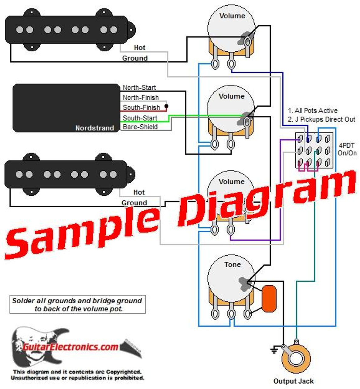 3 Pickup Sample Custom Diagram- 2 J-Bass Pickups + 1 Humbucker