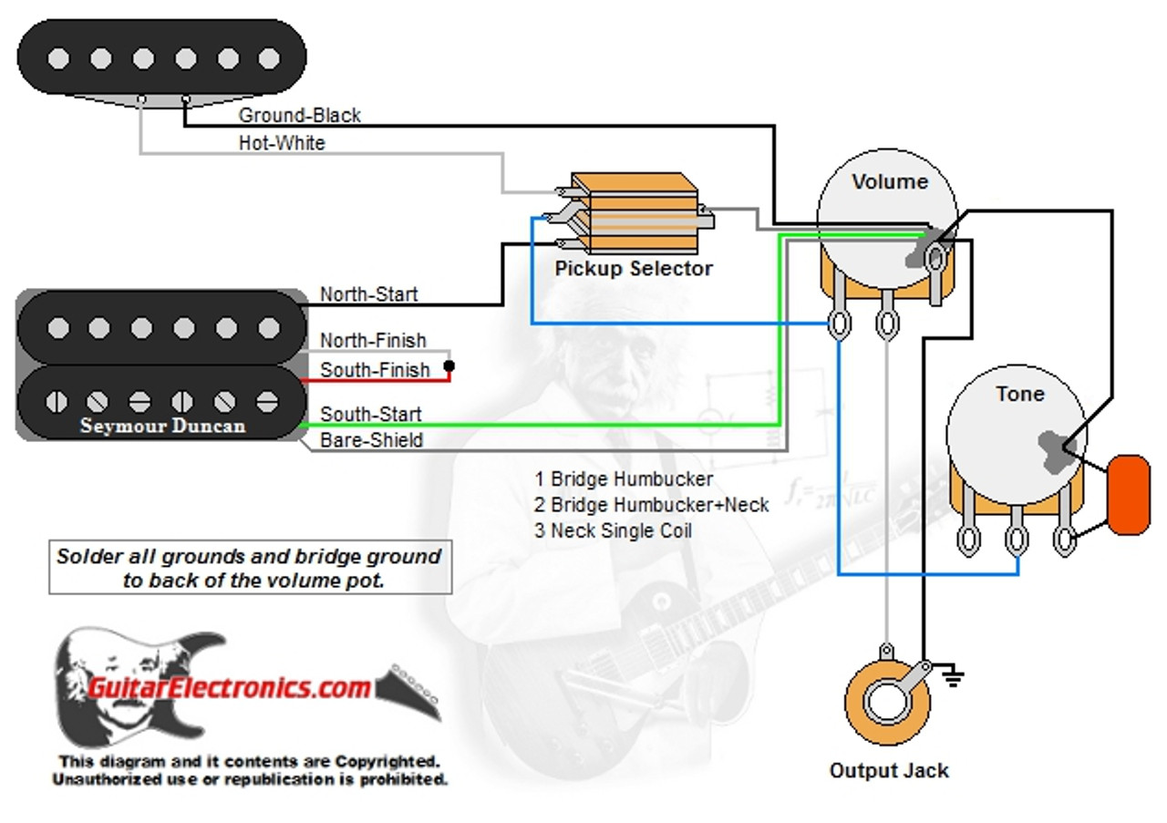 1 Humbucker/1 Single Coil/3-Way Toggle Switch/1 Volume/1 ... on wiring a switch from a switch, three way switches diagram, electrical switches diagram, electrical outlets diagram, switch diagram, three prong power cord diagram,