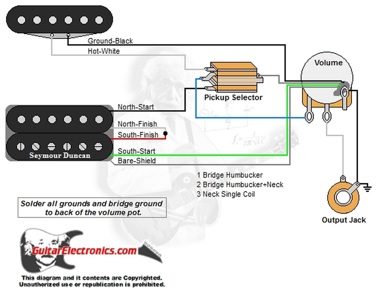 1 Humbucker/1 Single Coil/3-Way Toggle Switch/1 Volume/00 -  GuitarElectronics.com | Guitar Toggle Switch Wiring Diagram |  | Guitar Electronics