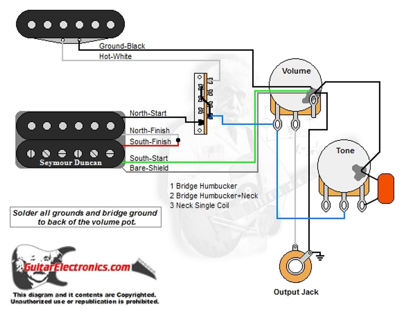 1 Humbucker1 Single Coil3way Lever Switch1 Volume1 Tone00 Rhguitarelectronics: Single Coil Wiring Diagram At Gmaili.net