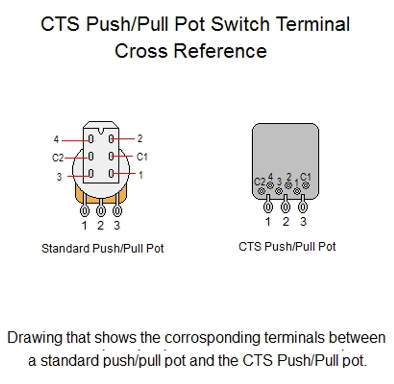 Cts Push Pull Pot Wiring Diagram: CTS 500K Audio Taper Push/Pull Guitar Potrh:guitarelectronics.com,Design