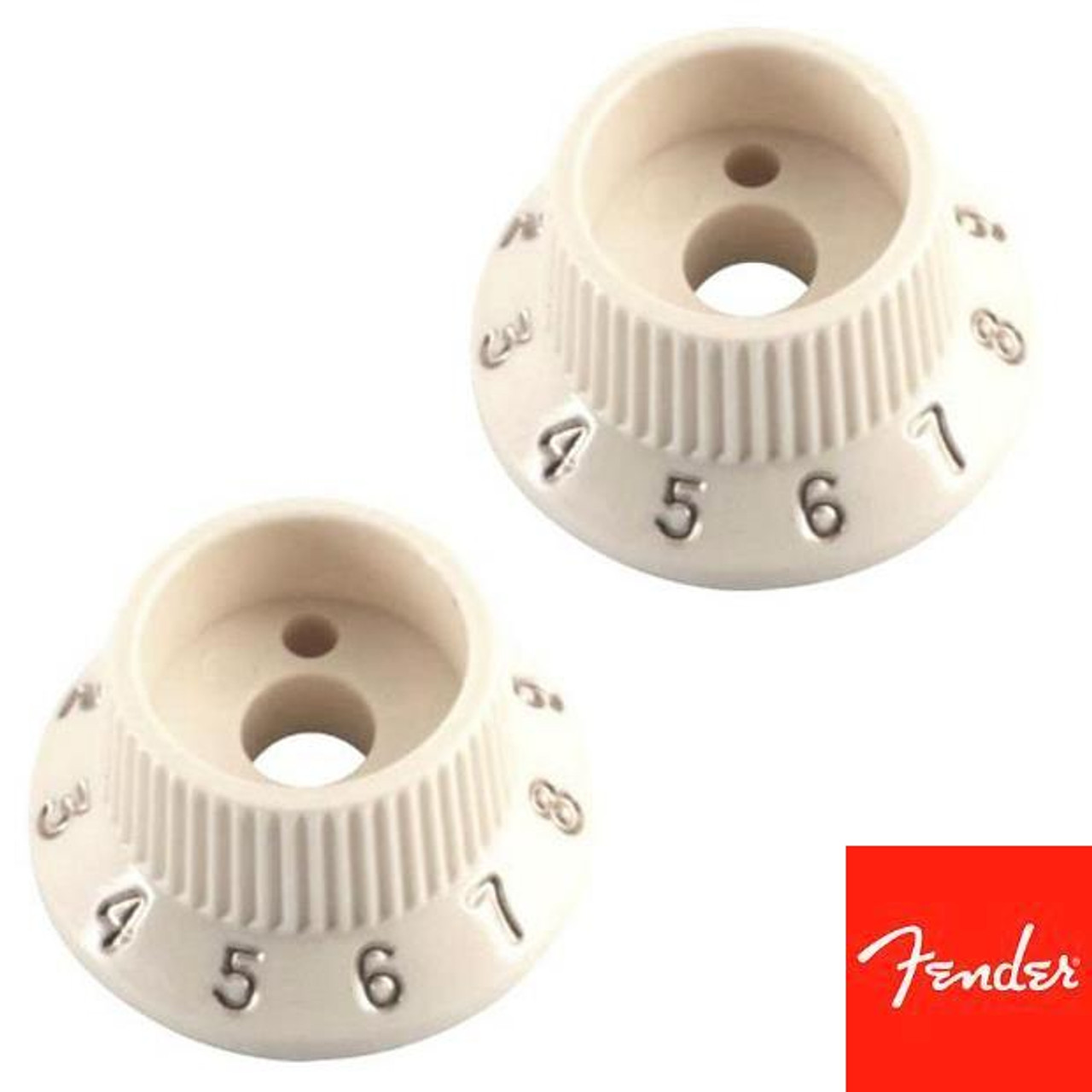 Fender Stratocaster S-1 Volume Pot Switch Knobs (2)-Parchment