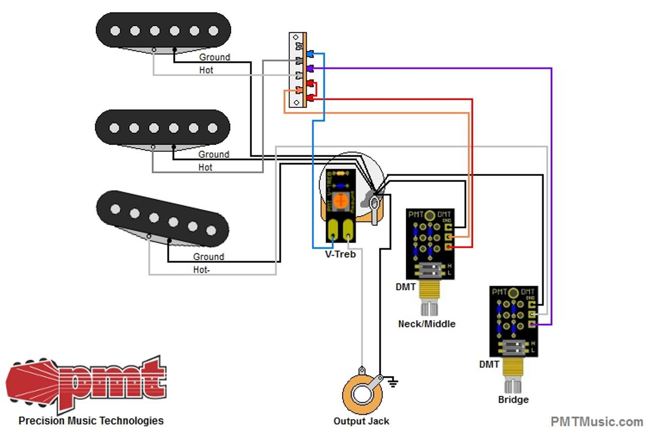 Strat with 3 Coils/1 V-Treb Volume & 2 Dual Mode Tones