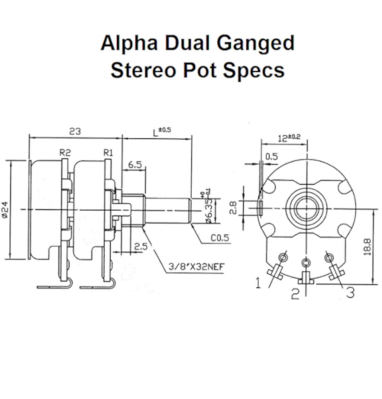 Alpha 250K Audio Taper Dual Ganged Stereo Control Pot specs