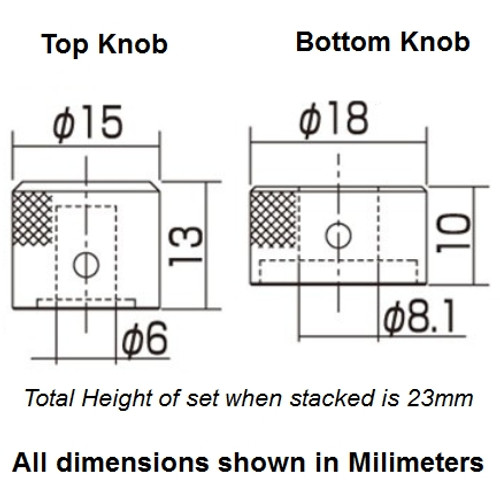 Stacked Metal Flat Top Knob for Guitar & Bass-Dimensions