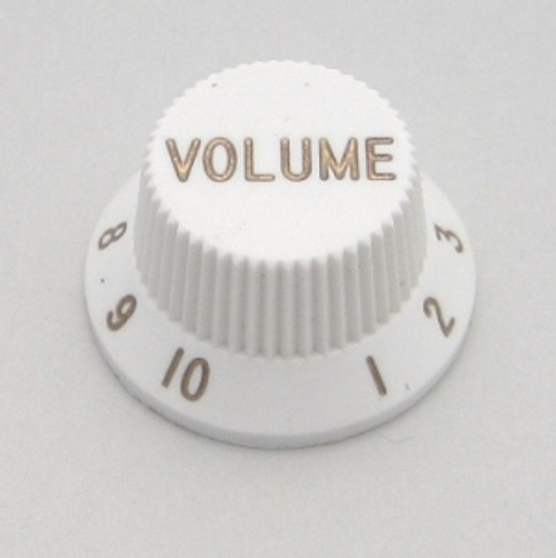 Strat & J-Bass Style Volume Knob w/ Coarse Splines-White