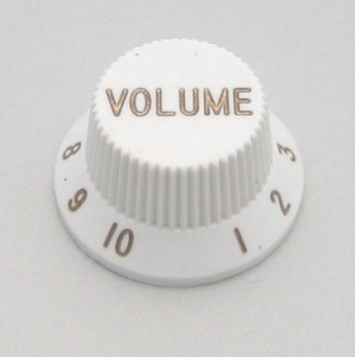 Strat & J-Bass Style Volume Knob w/ Fine Splines-White
