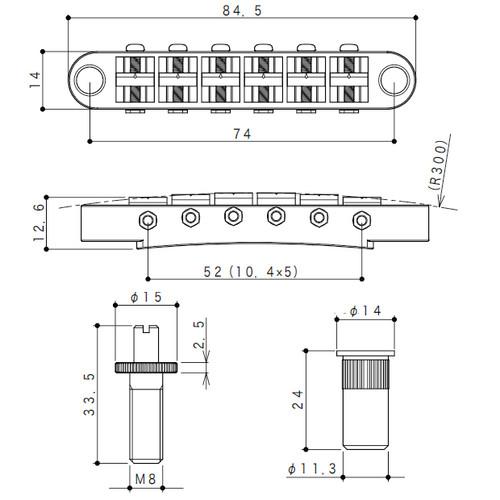 Gotoh GE103B-T Tunematic Guitar Bridge Dimensions