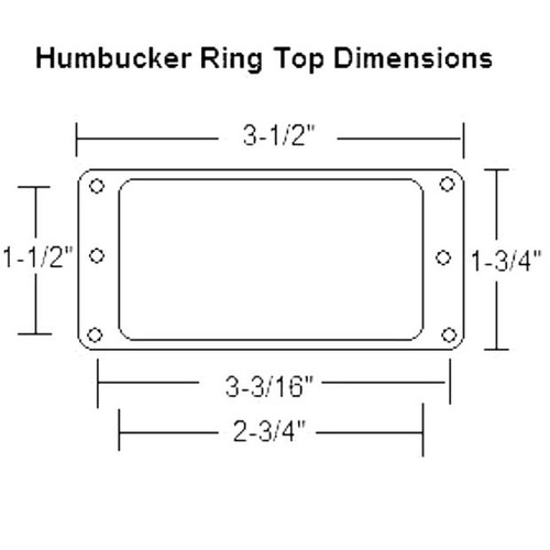 Flat Metal Humbucker Pickup Mounting Ring-Dimensions