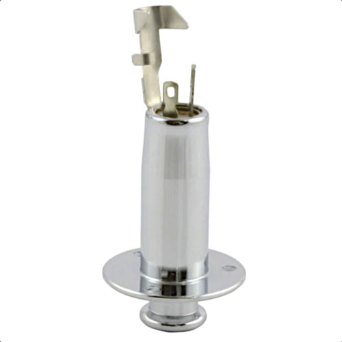 Acoustic End Pin Jack w/ 3 Screw Holes Side - Chrome