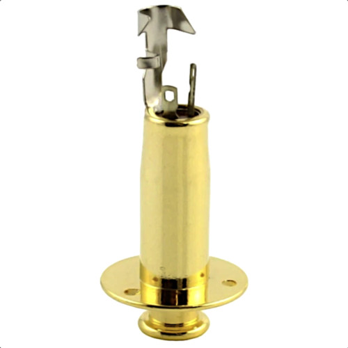 Acoustic End Pin Jack w/ 3 Screw Holes Side - Gold