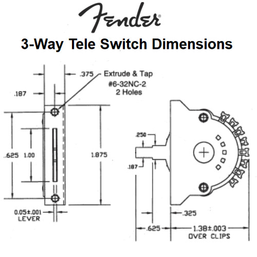 Fender 3-Way Tele Pickup Selector Switch Dimensions