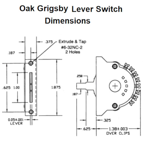 3-Way Guitar Lever Switch Dimensions-Oak Grigsby