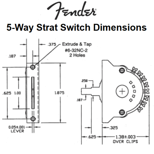 Fender 5-Way Strat Pickup Selector Switch Dimensions