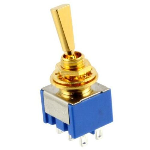 Double Pole ON/ON/ON Flat Handle Mini Switch - Gold