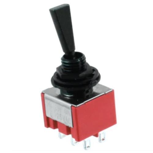 Double Pole ON/OFF/ON Flat Handle Mini Switch - Black
