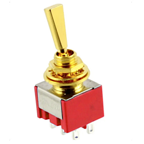 Double Pole ON/OFF/ON Flat Handle Mini Switch - Gold