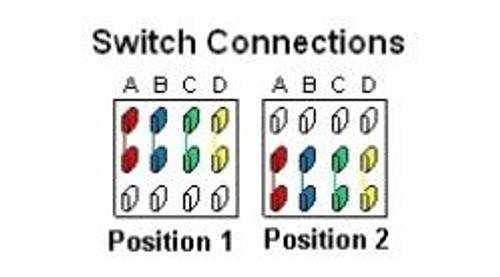 2-Way 4-Pole On/On Mini Toggle Switch Connections