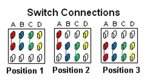 3-Way 4-Pole On/On/On Mini Toggle Switch Terminal Connections