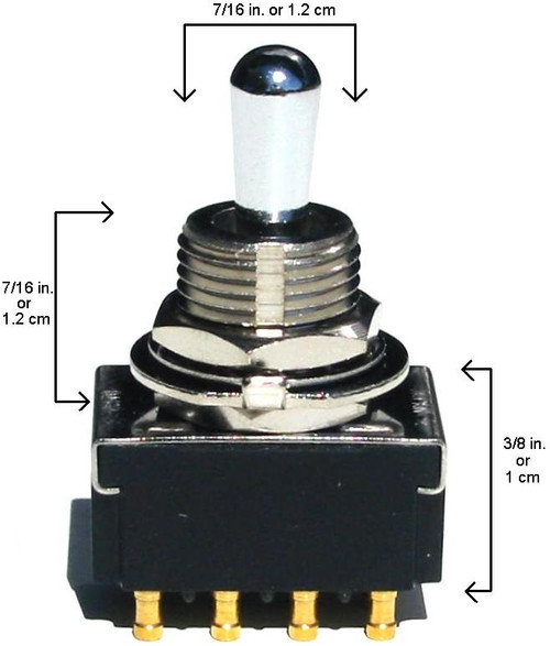 3-Way 4-Pole On/On/On Toggle Switch Dimensions