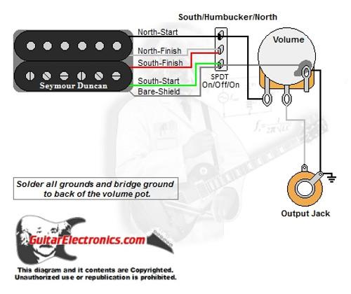 guitar wiring diagrams 1 humbucker 1 volume1 humbucker 1 volume north coil humbucker south coil