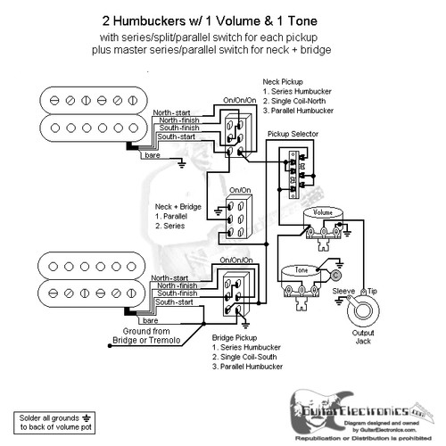 guitar wiring diagrams 2 humbuckers 3 way switch 1 volume 1 tone Seymour Duncan Wiring Diagrams
