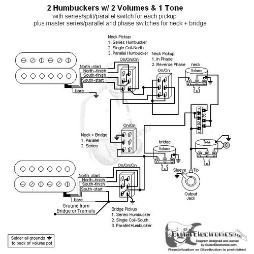 2 HBs/3-Way Lever/1 Vol/2 Tones/Series-Split-Parallel, Phase & Master Series-Parallel 2