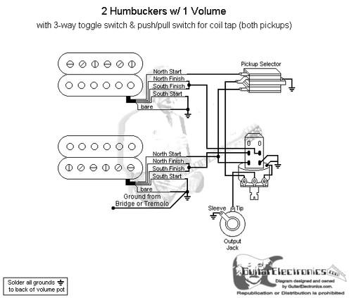 les 2 humbuckers/3-way toggle switch/1 volume on les paul jr wiring  dual humbucker