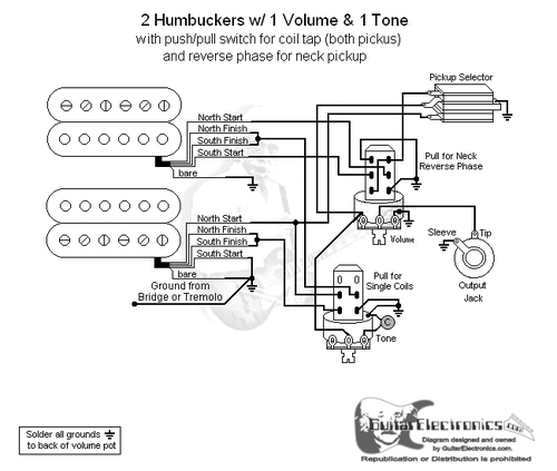2 HBs/3-Way Toggle/1 Vol/1 Tone/Coil Tap & Reverse Phase | Push Pull Coil Tap Wiring Diagram |  | Guitar Electronics
