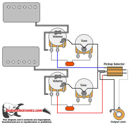 2 humbuckers/3-way toggle switch/2 volumes/2 tones humbucker wiring schematics  guitar electronics