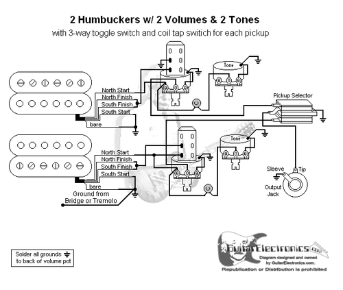 2 hbs/3-way/2 vol/2 tone/coil tap series parallel phase-jimmy page  guitar electronics