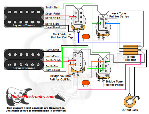 Jimmy Page Wiring Diagram: 2 Humbuckers/3-Way Toggle Switch/2 Volumes/2 Tones/Coil Tap & Series Parallel & Phase