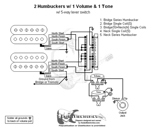 [SCHEMATICS_4FD]  2 Humbuckers/5-Way Lever Switch/1 Volume/1 Tone/04 | Fender 5 Way Super Switch Humbucker Pickup Wiring Diagram |  | Guitar Electronics