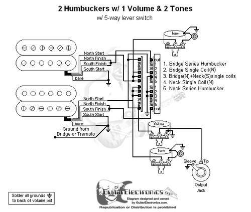 2 Humbuckers 5 Way Lever Switch 1 Volume 2 Tones 01