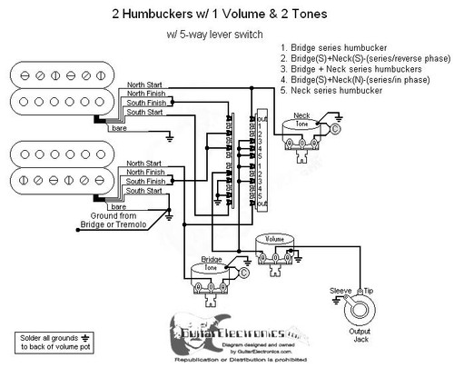 2 Humbuckers/5-Way Lever Switch/1 Volume/2 Tone/03 on alpha wiring diagram, omron wiring diagram, opto 22 wiring diagram, cts wiring diagram, oasis wiring diagram, orbit wiring diagram, danelectro wiring diagram, cole hersee wiring diagram, switchcraft wiring diagram, schaller wiring diagram, ultra wiring diagram,