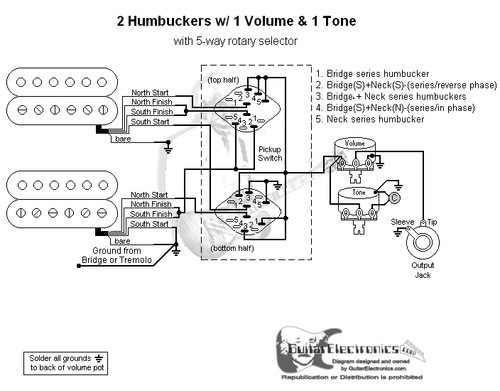 2 humbuckers/5-way rotary switch/1 volume/1 tone/03 rotary switch wiring diagram telecaster  guitar electronics