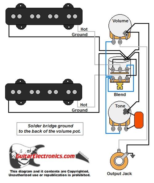 jazz bass style wiring diagramjazz bass w master volume \u0026 balance blend control