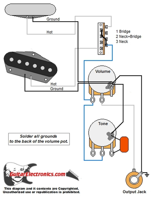 Guitar Wiring Diagrams | 2 Single Coil Pickups | Two Single Coil Guitar Wiring Diagram |  | Guitar Electronics