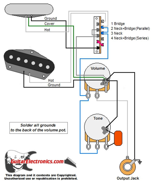 tele style guitar wiring diagramtele w 4 way mod switch tele neck pickup with added cover ground wire