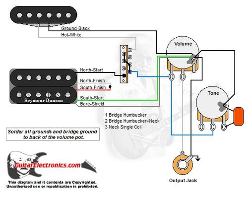 guitar wiring diagrams 1 humbucker 1 single coil Single Coil Pickup Wiring Diagrams