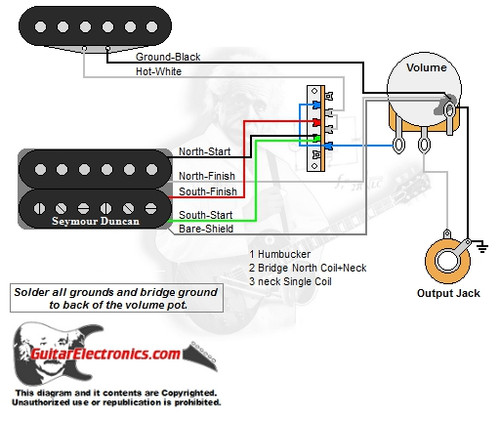 guitar wiring diagrams 1 humbucker 1 single coil Single Coil Pickup Wiring