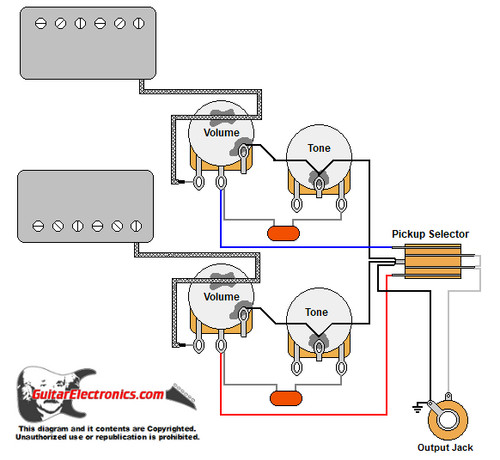 Gibson Style Guitar Wiring Diagram (vintage) Humbuckers/3-Way Lever Switch/2 Volumes/2 Tones/Vintage
